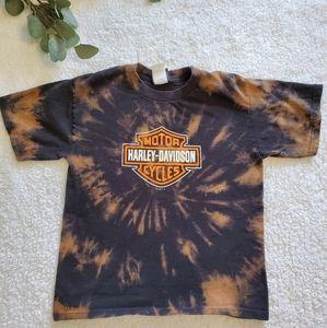 Youth Medium Bleach Tie Dyed Harley Davidson Tee